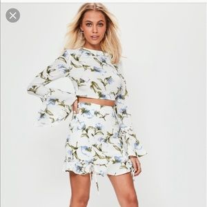 Missguided white floral two piece set.